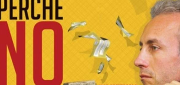 La locandina dello spettacolo per il No al referendum di Marco Travaglio
