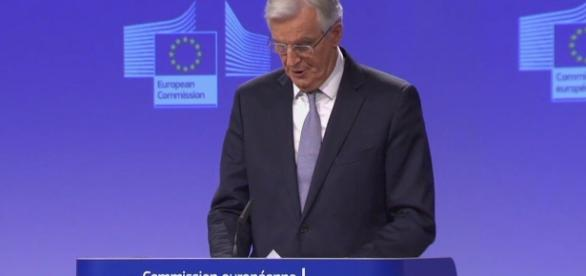 Michel Barnier at the press conference; Photo credit: Reuters