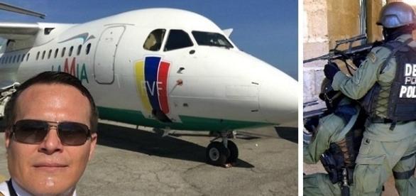 Na imagem o piloto com o avião que transportava o time que jogaria na Colômbia a final da Copa Sul-Americana.
