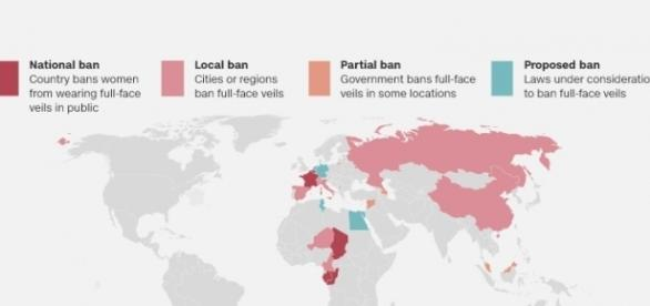 CNN map of ban or likelly ban on Hijab in world Photo CNN.com