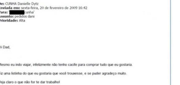 Filha de Cunha pede presentes ao pai em email descoberto após quebra de sigilo | Foto: Reprodução