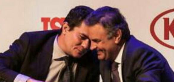 Foto de Sergio Moro conversando com Aécio Neves viraliza na internet