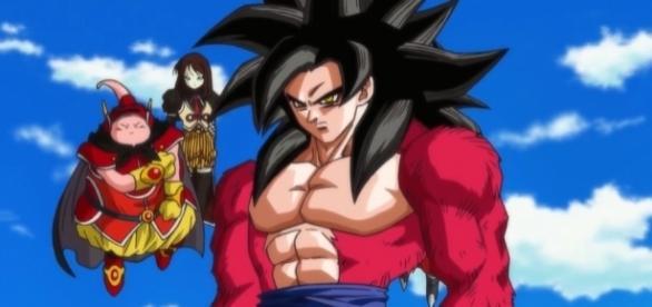 Goku transformacion en SSJ4 en DBH