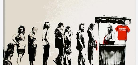 Destroy Capitalism Art Print by Banksy | iCanvas - icanvas.com