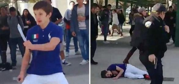 Un elev de la un liceu din Nevada a fost împușcat după ce și-a amenințat colegii cu un cuțit - Foto: Capturi YouTube