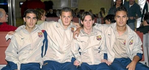 Jordi Gómez, Oriol Riera, Lionel Messi y Xavi Ginard rumbo a Oporto.