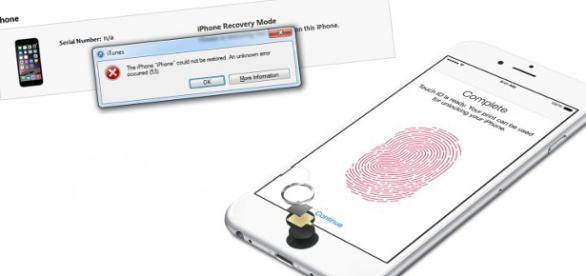 iPhone con TouchID y el error producido.