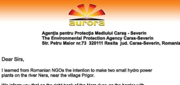 Adresa Asociaţiei sârbe Aurora către APM CS