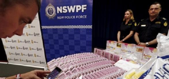 foto de la policía australiana con la incautación