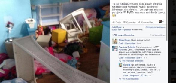 Fundão Xuxa Meneghel é depredada - Foto/Facebook