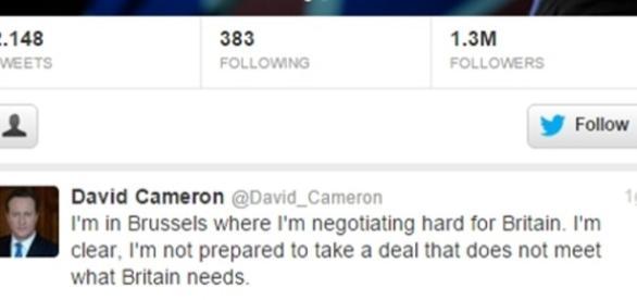 Il tweet di Cameron all'arrivo a Brussels
