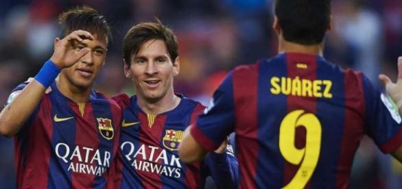 El tridente del FCBarcelona: Messi, Neymar, Suárez