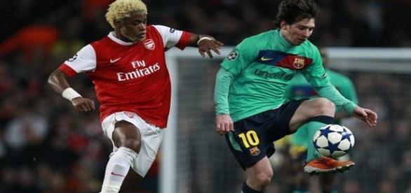Messi em ação frente ao Arsenal