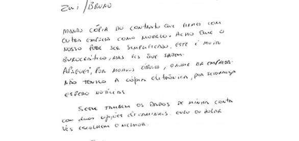 Cópia do bilhete enviado por Mônica