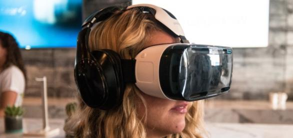 Virtual reality headset worn by a girl