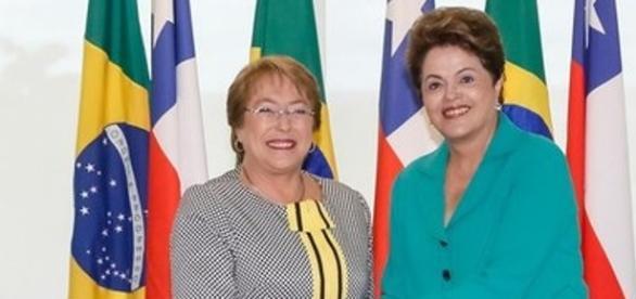 Dilma Rousseff e Michele Bachelet no Chile