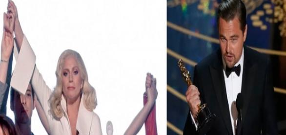 Lady Gaga e Leonardo DiCaprio no Oscar 2016