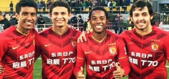 Robinho e Ricardo Goulard, estrelas do Guangzhon