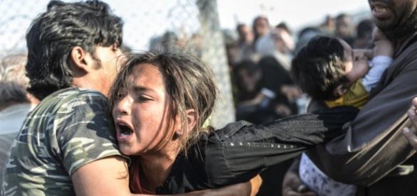 Refugiados que tentam chegar ao continente europeu