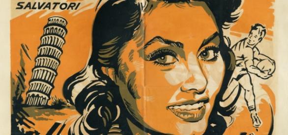 Il cartellone di un film con Sofia Loren