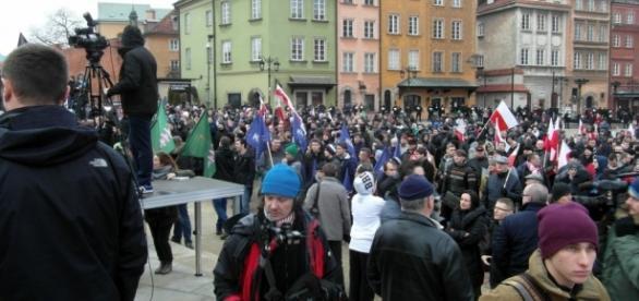 Manifestacja przeciw islamizacji Europy.