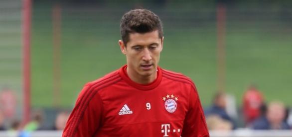 Robert Lewandowski entrenando con el Bayern