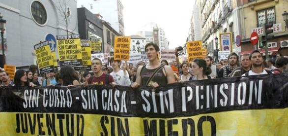 Manifestación de jóvenes en precario en España