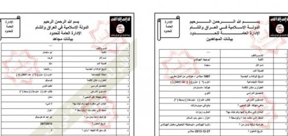 Documente cu date personale ale membrilor ISIS