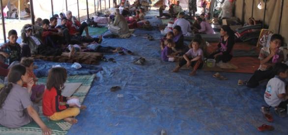 Refugiați yazidi cazați în corturi