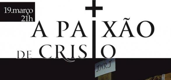 Cartaz promocional da Paixão de Cristo em Mar
