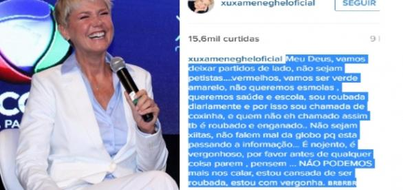 Xuxa faz forte desabafo na internet