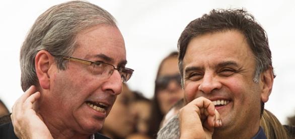 Eduardo Cunha (PMDB-RJ) e Aécio Neves (PSDB-MG)