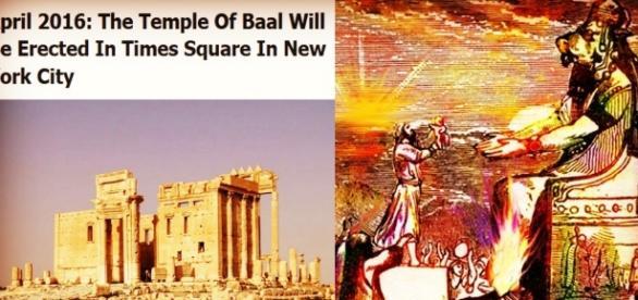 Templo Baal Shamin en Palmira y representación de Baal.