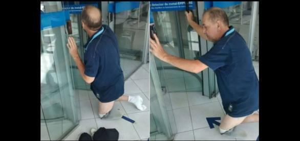 Aposentado é humilhado e desrespeitado ao tentar entrar em agencia bancária.