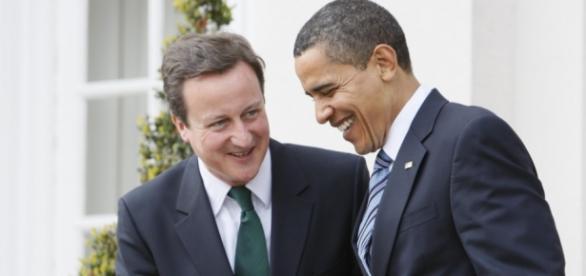 David Cameron(primeiro-ministro britânico) e Barack Obama(presidente dos EUA)