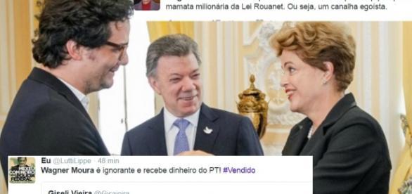 Wagner Moura em encontro com Dilma Rousseff
