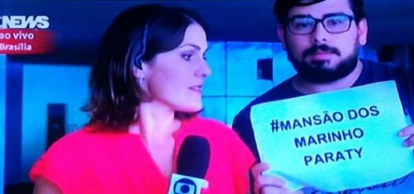 Protesto é feito ao vivo na Globo News