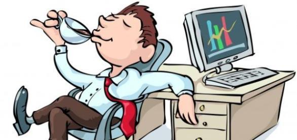 Ilustración humorística del trabajo de funcionario