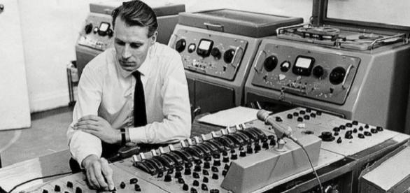 George Martin hard at work in the record studio