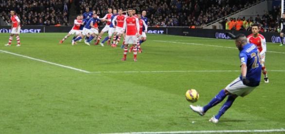 Mahrez, en un partido frente al Arsenal