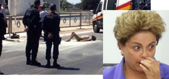 Homem chama por Dilma e coloca fogo no corpo