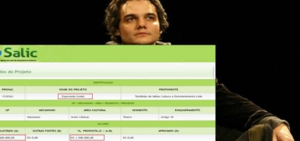 Wagner pediu um milhão e meio para fazer sua peça no Rio de Janeiro