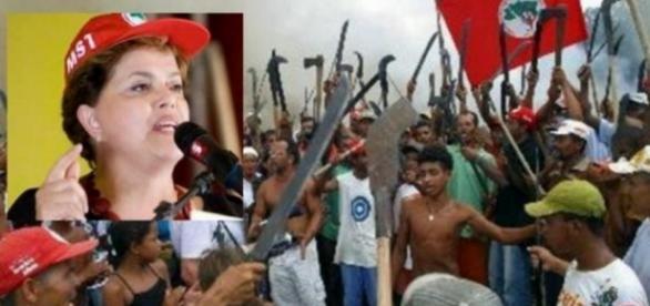 Dilma e o MST - Foto/Montagem: Google