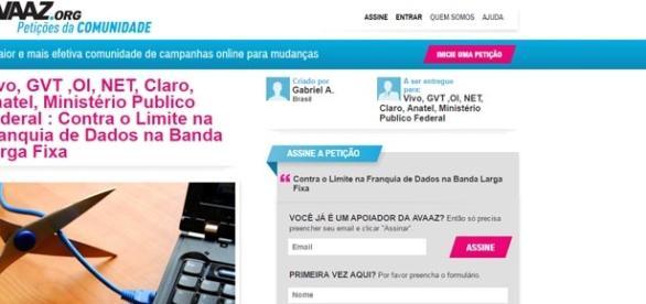 Petição online está hospedada no site Avaaz.org