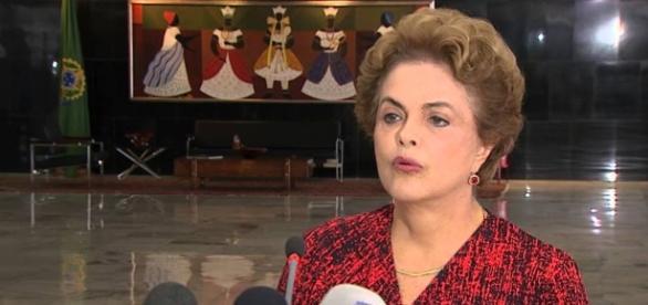 Dilma Rousseff numa entrevista de março 2016