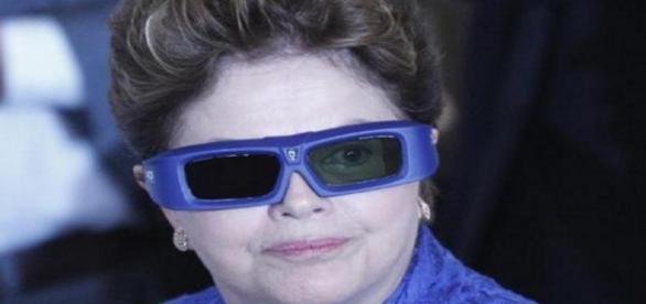 Dilma com óculos 3D - imagem do Google