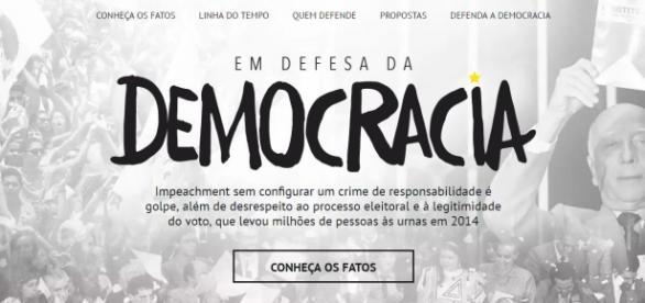 Página está registrada em domínio público e acusa impeachment de golpe