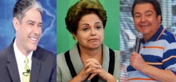 William Bonner, Dilma e Faustão - Foto/Montagem