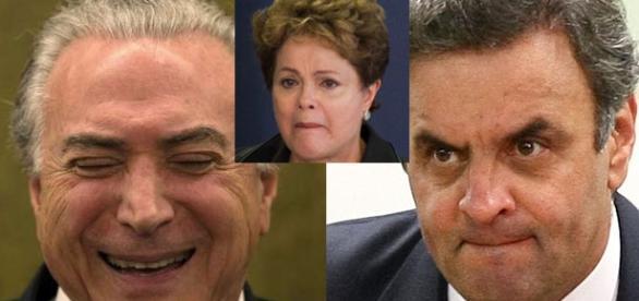 Aécio e Temer esculacham Dilma na internet