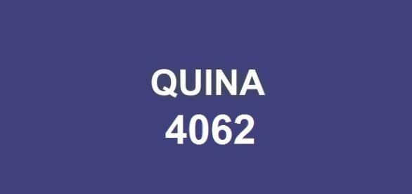 Sorteio Quina 4062; Prêmio de R$ 4,2 milhões.